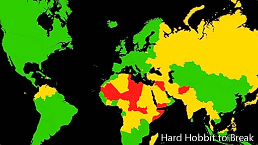 A map showing the most dangerous countries in the world for tourists