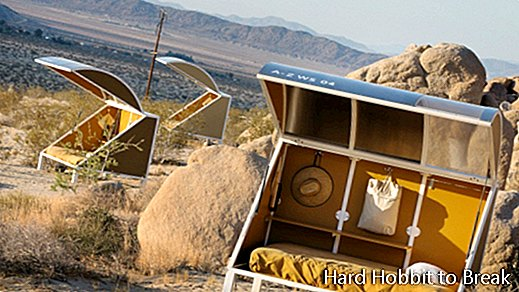 Original futuristic camping in the middle of the California desert