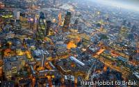 London at night from the sky